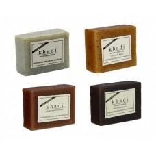 Khadi Natural™ Soap Combo (Lavender Ylang Ylang Soap[1] + Mint Sesame Soap[1] + Choclate Honey Soap[1] + Woody Sandal and Honey Soap[1]) Set of 4