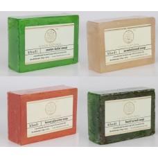 Khadi Natural™ Soap Combo (Neem Tulsi Soap[1] + Sandalwood Soap[1] + Basil Scrub Soap[1] + Honey Glycerin Soap[1])