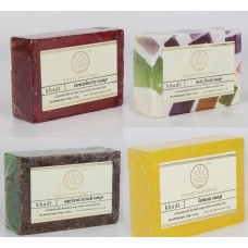 Khadi Natural™ Soap Combo (Strawberry Soap[1] + Mix Fruit Soap[1] + Apricot Scrub Soap[1] + Lemon Soap[1]) Set of 4